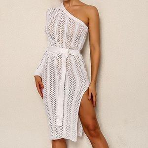 One Shoulder Split Belted Pointelle Knit Dress